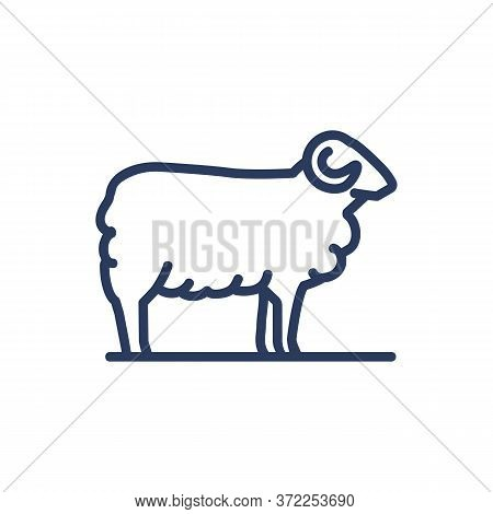 Sheep Thin Line Icon. Pasture, Herd, Animal Isolated Outline Sign. Diary Product, Farming, Agricultu