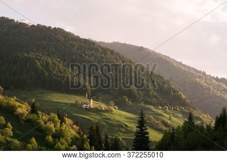 Mountain Green Landscape. Forest Panorama And Countryside On A Hill.