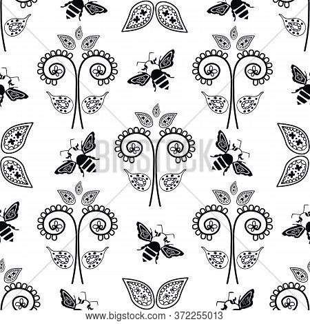 Stylized Honey Bee And Flowers Seamless Vector Pattern Background. Formal Backdrop With Black And Wh
