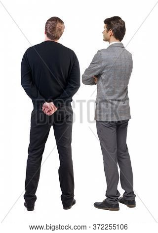 Back view of two business man in suit. Business team. Rear view people collection. backside view of person. Isolated over white background.
