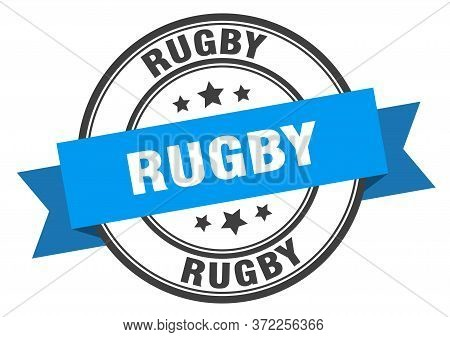 Rugby Label. Rugbyround Band Sign. Rugby Stamp