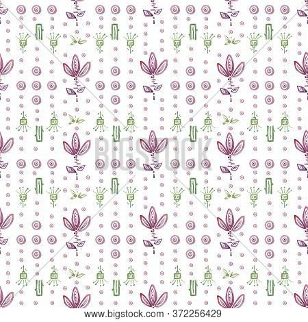 Seamless Patern. Pink Flowers Ornaments On White Background. Hand Drawn Watercolor Illustration