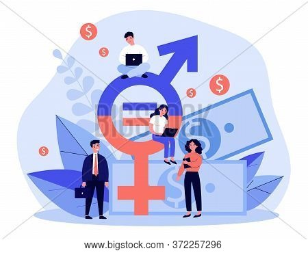 Employees Gender Salary Equality. Business People With Laptop Working At Cash And Equal Sign. Illust