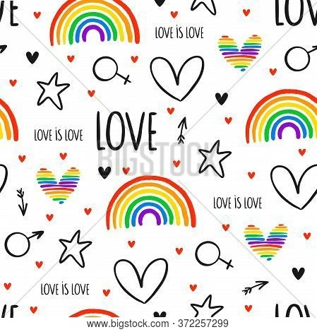 Never-ending Cute Seamless Pattern With Lgbt Rainbow, Hearts, Text, Arrows And Stars. Gay Pride. Pri