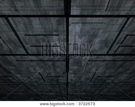 Fantasy Alien Unknown Futuristic Constructions In Dark Scene