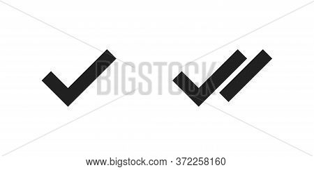 Checkmark And Doodle Checkmark Symbol Tick Sign. Vector Flat Isolated Icon