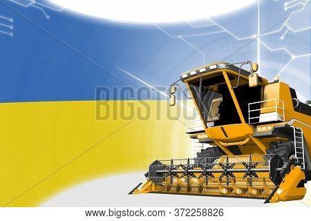 Digital Industrial 3d Illustration Of Yellow Advanced Rural Combine Harvester On Ukraine Flag - Agri
