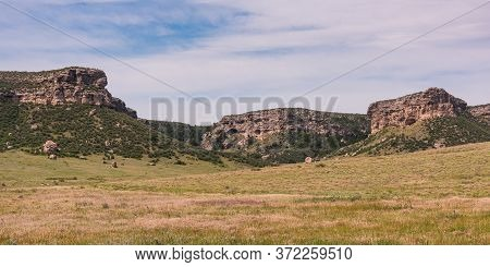 Chugwater Wyoming Prairie Bluffs. Scenic Beauty Of Wyoming