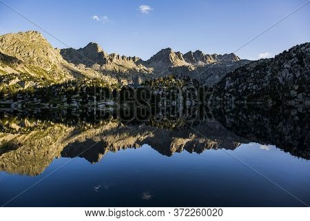 Sunset In Josep Maria Blanc Refuge, Aiguestortes And Sant Maurici National Park, Spain