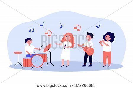 School Musician Band. Cute Children With Musical Instruments Playing And Singer Playing At Party Or