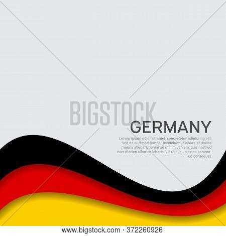 Abstract Waving Germany Flag. Paper Cut Style. Creative Background For Design Of Patriotic Holiday C