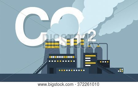 Co2 Emissions Illustration - Harmful Air Carbon Contamination Emblem With Industrial Smoking Pipes O