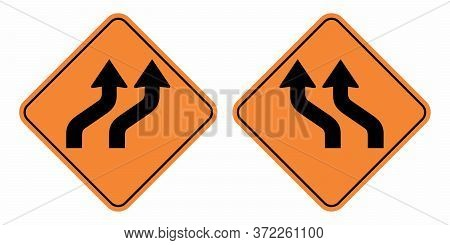 Left And Right Traffic Shift Signs On White Background