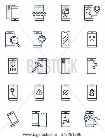Mobile Phone Repair Icons. Smartphone Falling Down, Scratches On Screen, Dropped Cell, Broken Temper