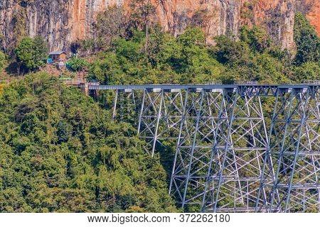 Gokteik Viaduct On The Railway Line Mandalay - Hsipaw, Myanmar
