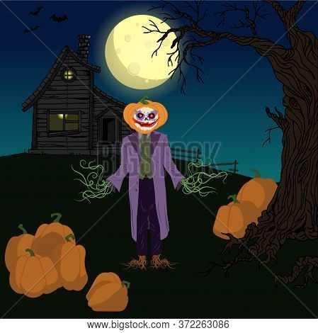 Halloween Night Vector Illustration. Pumpkin In A Suit And Mask On The Background Of A Haunted House