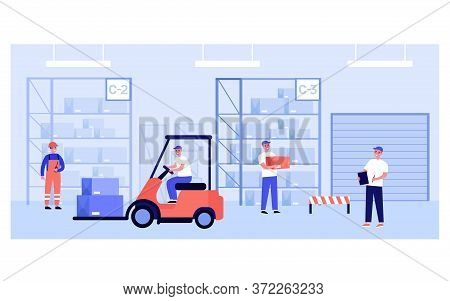 Warehouse Workers And Couriers Carrying Boxes From Storage Shelves, Riding Forklift, Doing Logistic