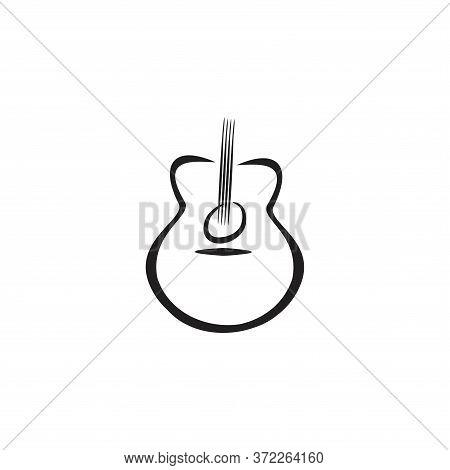 Acoustic Nylon Guitar Logo Concept Isolated On White