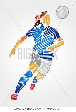 Blue And Grayscale Brush Strokes Showing Female Empowerment In Soccer Game