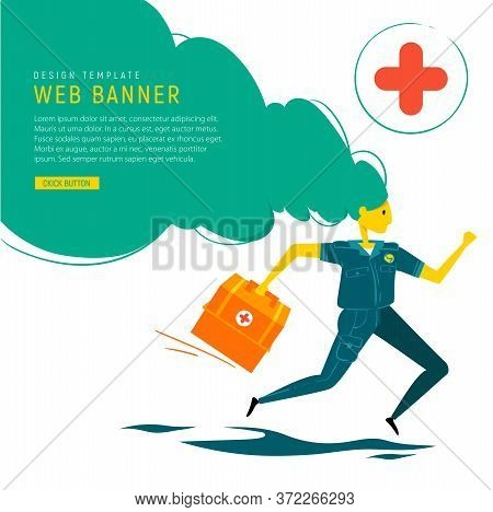 Medical Banner. Emergency Doctor With Medical Box Run To Rescue. Doctor Runs To Save People. Flat De