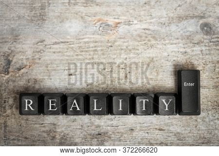 Key Buttons With Letters, Word Reality And Enter, Concept Myth And Real Facts, Fake News And Truth
