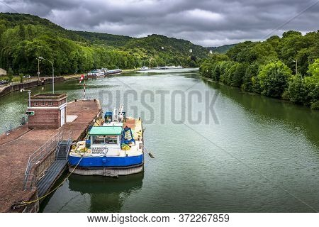 Rouen, France - June 14, 2020. Large View By Wide Angle On Seine River In France, With Houseboats On