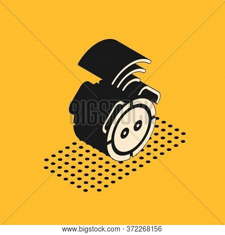 Isometric Robot Vacuum Cleaner Icon Isolated On Yellow Background. Home Smart Appliance For Automati
