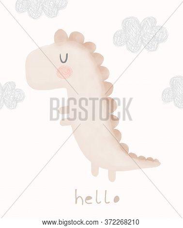 Cute Dreamy Dinosaur Vector Illustration. Pastel Color Nursery Art With Funny Baby Dino. Watercolor