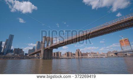 Brooklyn Bridge New York Leading From Manhattan To Brooklyn - New York City, United States - April 2