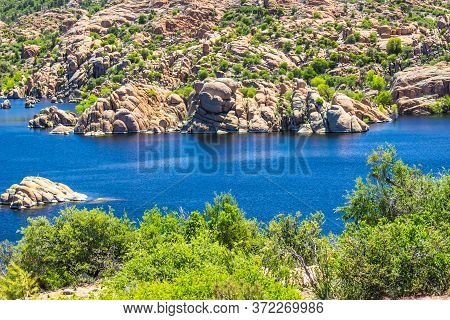 Mountain Lake With Unique Shoreline Rock Formations