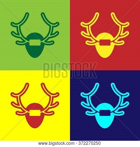 Pop Art Deer Antlers On Shield Icon Isolated On Color Background. Hunting Trophy On Wall. Vector