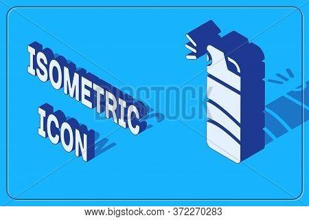 Isometric Pepper Spray Icon Isolated On Blue Background. Oc Gas. Capsicum Self Defense Aerosol. Vect