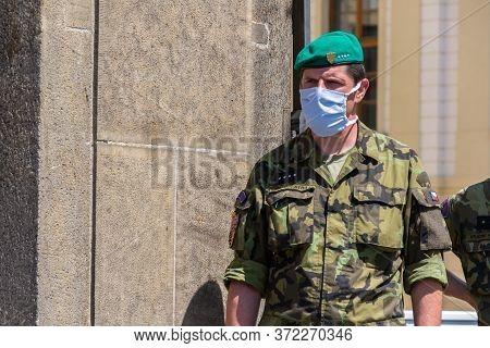 Prague, Czech Republic - June 2 2020: Face Mask On Soldier Of Prague Castle Guard During Coronavirus