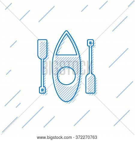 Blue Line Kayak And Paddle Icon Isolated On White Background. Kayak And Canoe For Fishing And Touris
