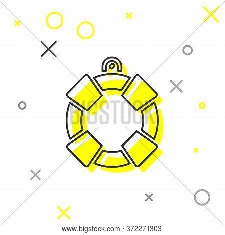 Grey Line Lifebuoy Icon Isolated On White Background. Lifebelt Symbol. Vector