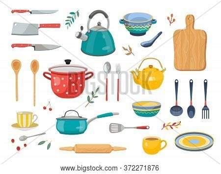 Modern Various Kitchen Tools Flat Icon Set. Kitchenware, Cooking Baking Utensils Isolated Vector Ill