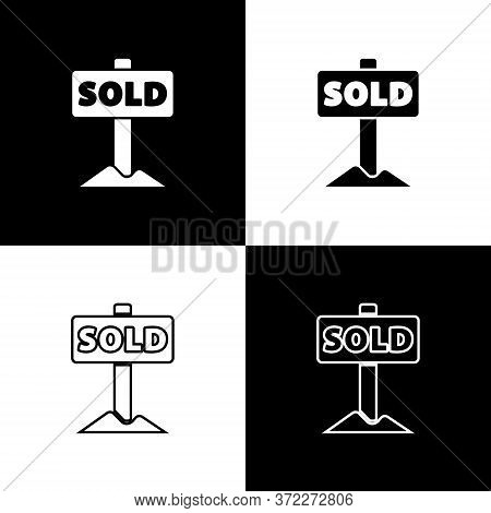 Set Hanging Sign With Text Sold Icon Isolated On Black And White Background. Sold Sticker. Sold Sign