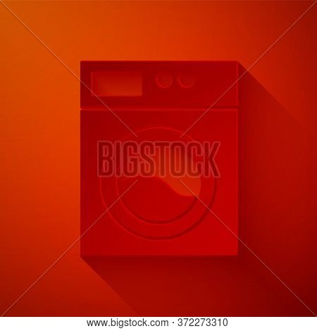 Paper Cut Washer Icon Isolated On Red Background. Washing Machine Icon. Clothes Washer - Laundry Mac
