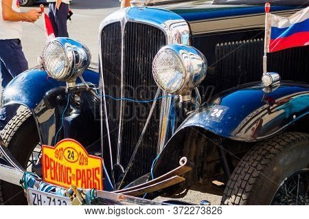 Front View Of Rockne Six 75, Black American Car 1932. The 7th Peking To Paris Motor Challenge. Ufa,