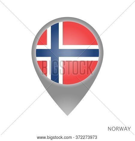 Map Pointer With Flag Of Norway. Colorful Pointer Icon For Map. Vector Illustration