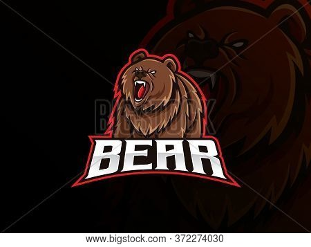 Bear Mascot Esport Logo Design. Bear Animal Mascot Vector Illustration Logo. Wild Grizzly Bear Masco