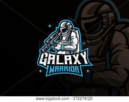 Astronaut Mascot Sport Logo Design. Space War Mascot Vector Illustration Logo. Galaxy Warrior Mascot