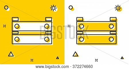 Black Wooden Box Icon Isolated On Yellow And White Background. Grocery Basket, Storehouse Crate. Emp