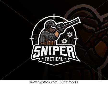 Sniper Mascot Sport Logo Design. Army Mascot Vector Illustration Logo. Tactical Sniper Mascot, Emble