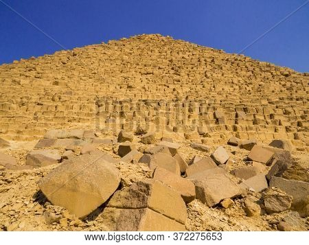 View Of The Pyramid Of Menkaure On The Giza Necropolis. In Cairo, Egypt