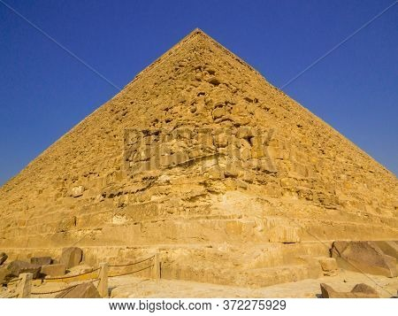 View Of The Pyramid Of Khafre In The Giza Necropolis. In Cairo, Egypt