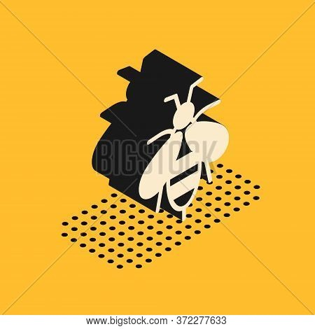 Isometric Bee Icon Isolated On Yellow Background. Sweet Natural Food. Honeybee Or Apis With Wings Sy