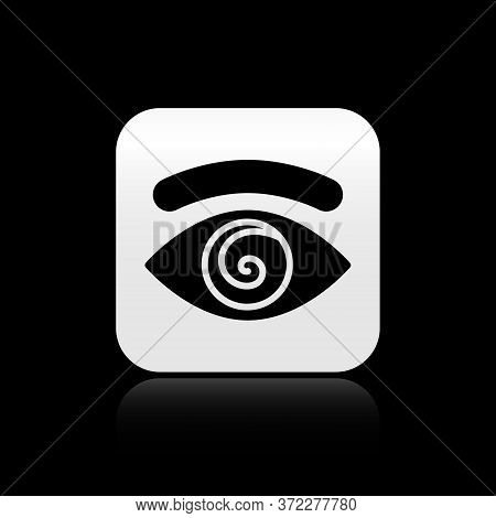 Black Hypnosis Icon Isolated On Black Background. Human Eye With Spiral Hypnotic Iris. Silver Square