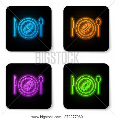 Glowing Neon Served Cucumber On A Plate Icon Isolated On White Background. Marine Food. Black Square