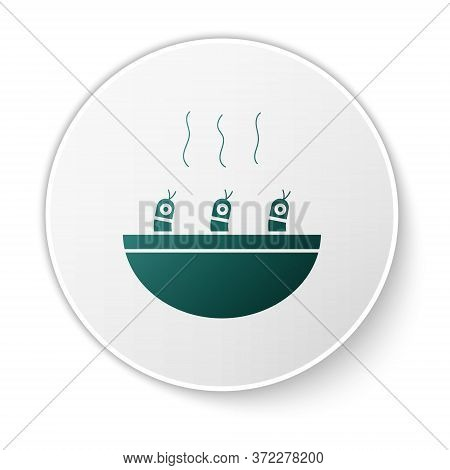 Green Soup With Shrimps Icon Isolated On White Background. Tom Yum Kung Soup. White Circle Button. V